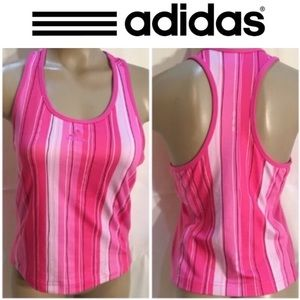 Adidas pink striped athletic sport top M